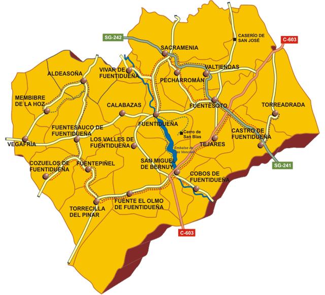 Pueblos De Segovia Mapa.Comunidad De Villa Y Tierra De Fuentiduena Segovia